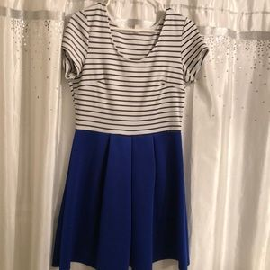 Cute blue dress with black and white stripped top!